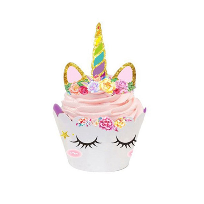 48Pcs horse Rainbow Cake Toppers +Cupcake Wrappers Birthday Party Cake Decoration Baby Shower horse Party Supplies