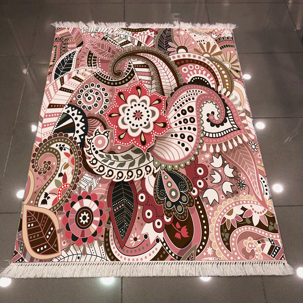Else Brown Pink Abstract Ethnic Authentic Bohemian 3d Print Microfiber Anti Slip Back Washable Decorative Kilim Area Rug Carpet
