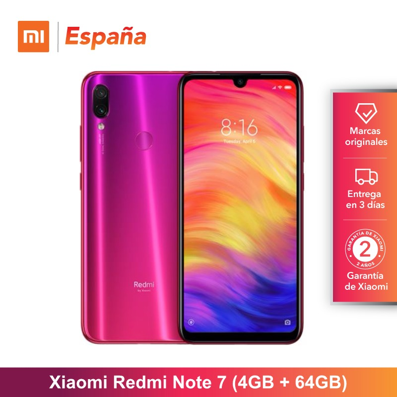 Mondial Version pour Espagne] Xiaomi Redmi Note 7 (Memoria interna de 64 GB, RAM de 4 GB, Camara double trasera de 48 MP)