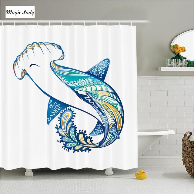 Shower Curtain With Animals Bathroom Accessories Hammer Head Ornate Shark Sea Ocean Blue Green White Home
