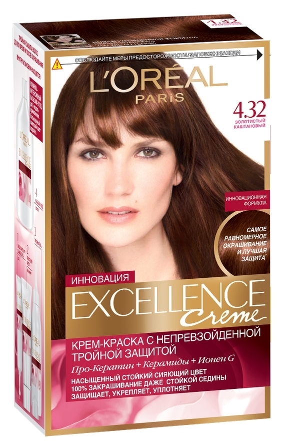 Loreal Excellence Hair Color Tone 432 Golden Chestnut In Hair