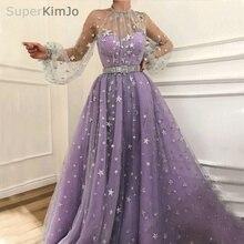 SuperKimJo Long Sleeve Prom Dresses 2018 Purple High Neck Elegant Arabic Gown Vestidos De Graduacion (belt is not included)
