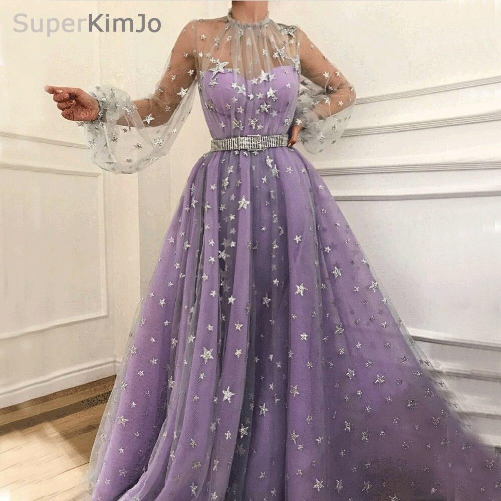 SuperKimJo Long Sleeve Prom Dresses 2020 Purple High Neck Elegant Arabic Prom Gown Vestidos De Graduacion (belt Is Not Included)