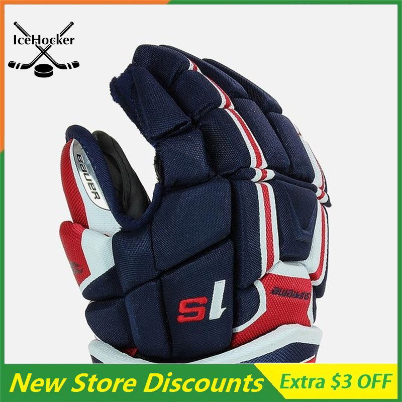 [2 Pack] Navy/Red/White Ice Hockey Gloves Anatomical Fit Supreme series 1  Free Shipping[2 Pack] Navy/Red/White Ice Hockey Gloves Anatomical Fit Supreme series 1  Free Shipping