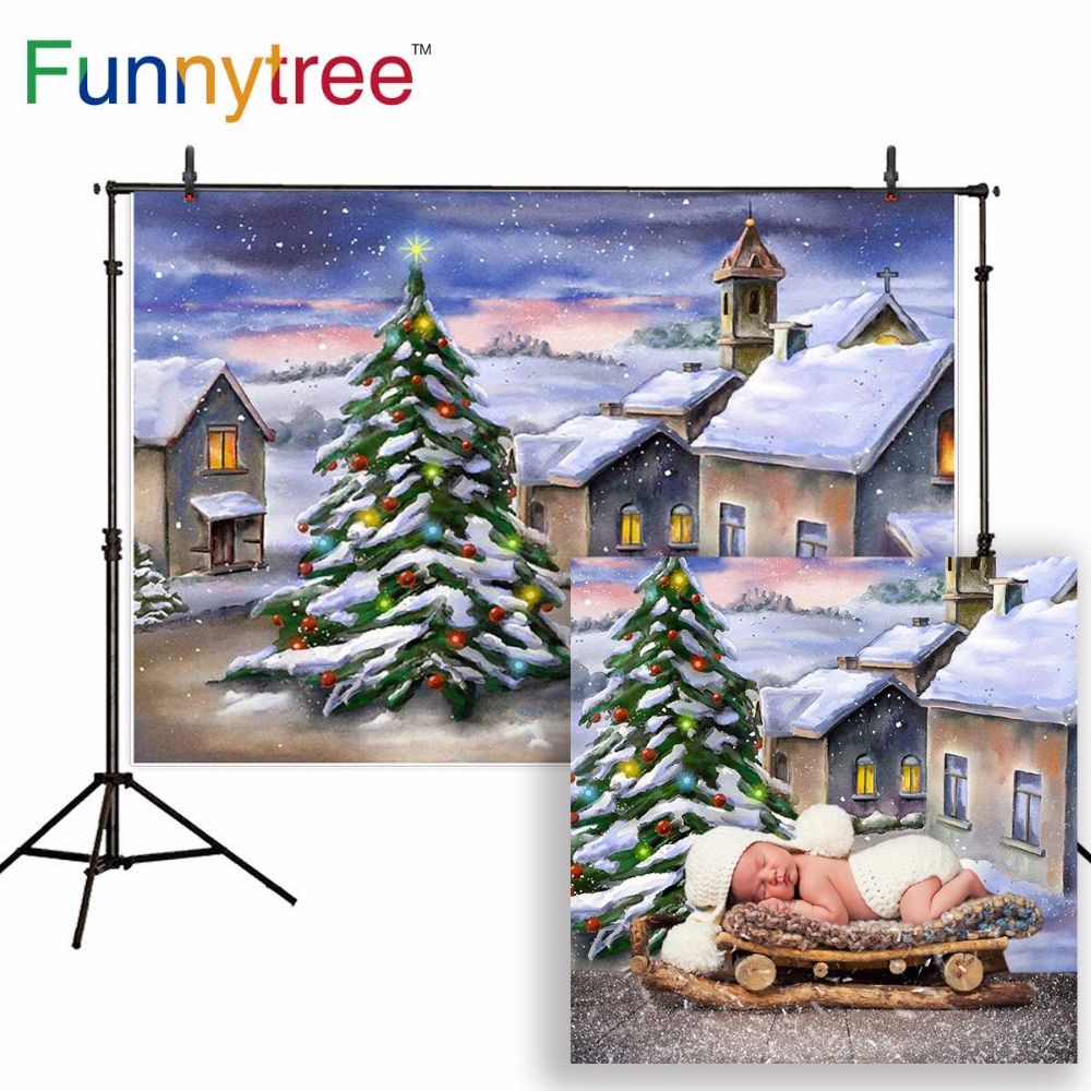 Funnytree backdrop for photo studio Christmas tree small town houses winter snow painting photography background photobooth