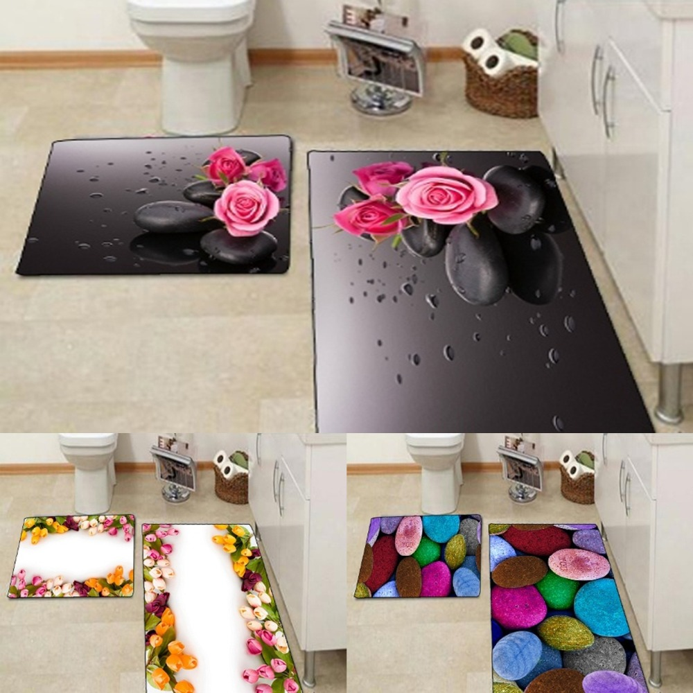 Autres Roses Roses pierre noire couleur Roses fleurs impression 3d antidérapant microfibre 2 pièces tapis de bain ensemble pour salle de bain 90x60 cm 50x60 cm