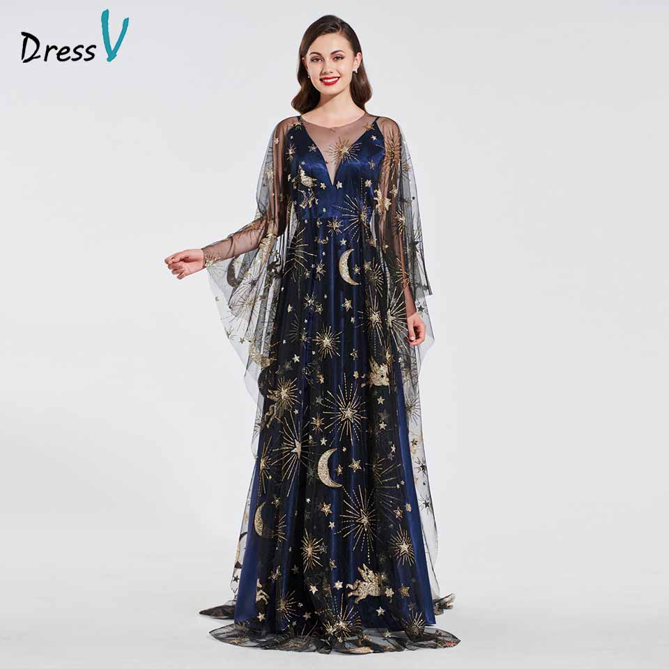 Dressv Elegant Long Sleeves Evening Dress Scoop Neck A Line Sample Wedding Party Formal Dress Evening Dresses Customize