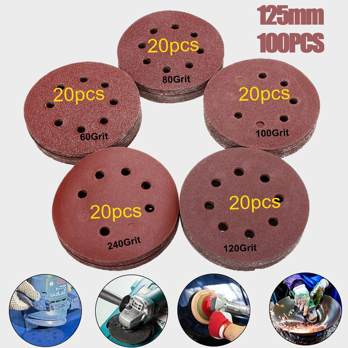 цена на 100pcs 125mm 60 80 100 120 240 Grit Round Shape Sanding Discs Buffing Sheet Sandpaper 8 Hole Sander Polishing Pad Each of 20