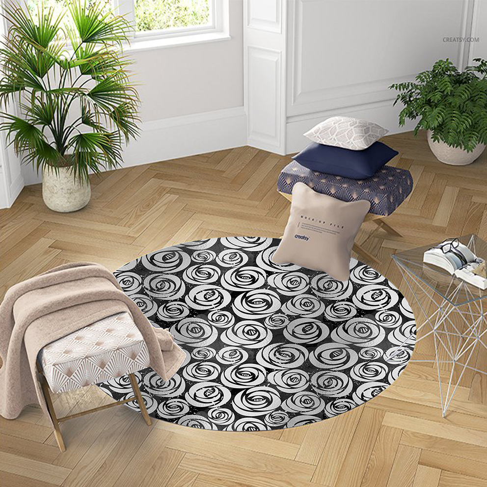 Else Black Gray Roses Flowers Floral Nordec 3d Pattern Print Anti Slip Back Round Carpets Area Rug For Living Rooms Bathroom