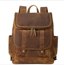купить Backpack Men Cow Leather Business Casual Brown Backpacks Travel School Bag For Teenagers Anti Theft Brand Laptop Backpack Male недорого