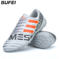 sufei Men Turf Football Boots Hard Wearing Soccer Shoes Non slip Kids Cheap Futsal Cleats Training Sport Sneakers