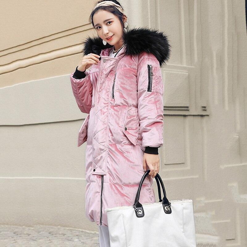 Capuchon Lumineux Manteaux Femmes D'hiver Manches Design Manteau Chauds Nouveau De rose Bleu À Dames corail Rouge Long Longues Épais Couleur Fourrure marine Ardoisé Veste 2019 qOOw4pt