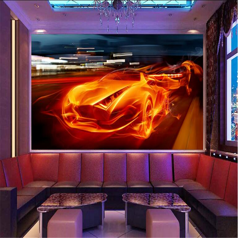 Custom Wallpaper 3D Stereoscopic Car Photo Wall Murals Dynamic Bar KTV Wallpapers Classic Wall Papers for Living Room Home Decor abstract fashion ceiling murals wallpaper dynamic lines wall paper for kids room living room bedroom ktv hotel 3d ceiling murals