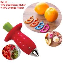 Фрукты резак для гаджетов инструменты 2 шт./компл. клубника шелушильная машина и лимон, зелень, оранжевый очистки фруктов и овощей