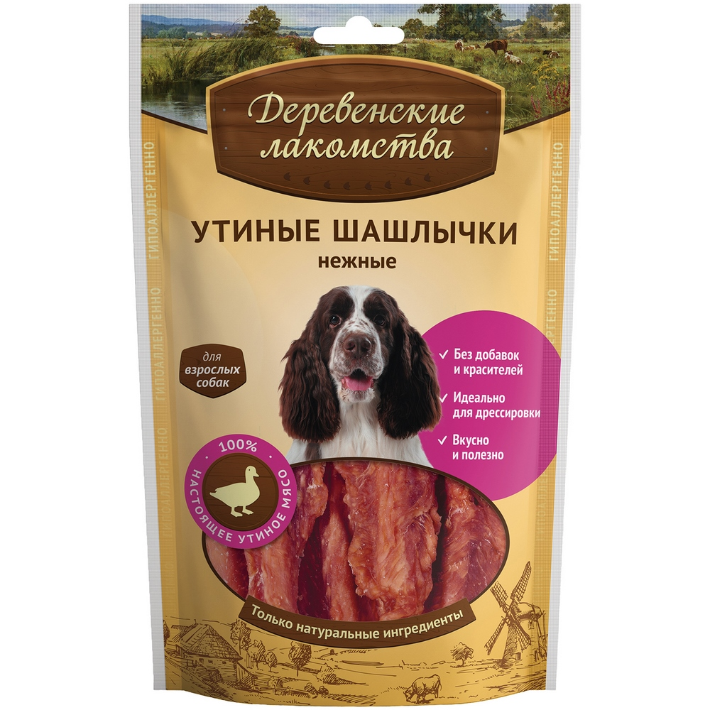 Dogs treats Village delicacies Duck skewers tender for dogs, 90g цена