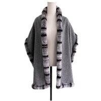 chinchilla fur scarf female ladies winter autumn spring wraps wool women fashion gray wraps S14