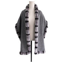 chinchilla fur scarf female ladies winter autumn spring wraps wool women fashion gray S14