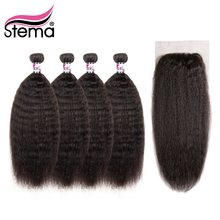 Stema Hair Brazilian Remy Hair Bundles With Lace Closure Deal Kinky Straight 4Bundles With Closure 4*4 Hair Free Shipping(China)