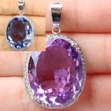 SheCrown Top AAA+ 22x18mm Color Changing Alexandrite & Topaz CZ Silver Pendant 25x20mm