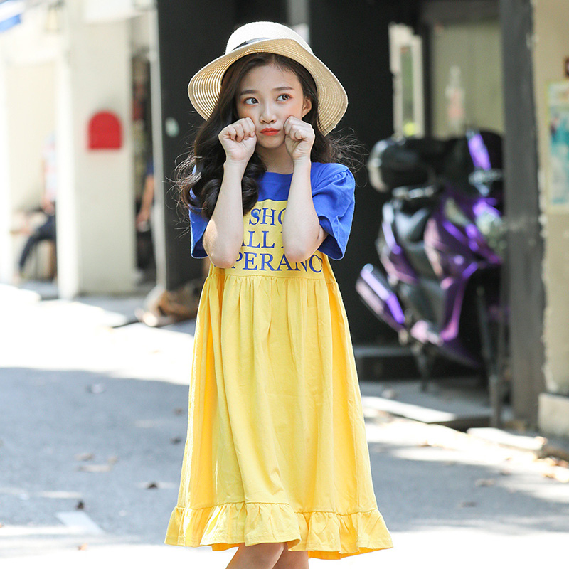 Short Sleeve Summer Girls Dress Red Yellow Letters Ruffles Loose Mid Length Kids Dresses Childrens ClothingShort Sleeve Summer Girls Dress Red Yellow Letters Ruffles Loose Mid Length Kids Dresses Childrens Clothing