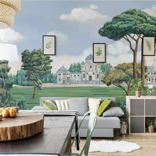 Hand-painted European painting castle forest wall decoration factory wholesale wallpaper mural photo