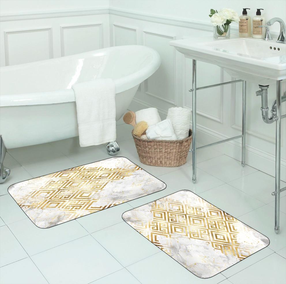 Else White Clouds Golden Yellow Ikat Nordec 2 Pcs 3d Pattern Print Bath Mats Anti Slip Soft Washable Bathroom Mat Toilet Rugs