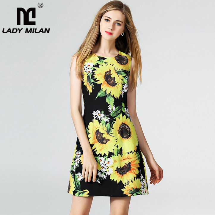 New Arrival Womens O Neck Sleeveless Floral Printed Short Dresses Fashion Casual Summer Runway Dresses