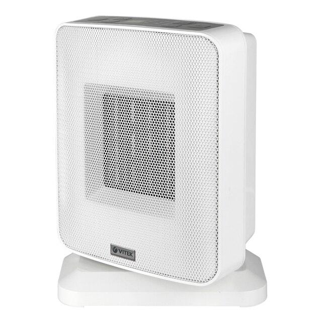 Тепловентилятор Vitek VT-2052 GY (Мощность 1500 Вт, керамический нагревательный элемент, дисплей, электронное управление, таймер до 12 ч, регулировка температуры, защита от перегрева и опрокидывания)