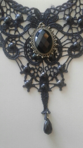 Black Lace & Beads Collar Necklace photo review