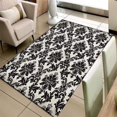Else Gray Black Vintage Ottoman Damask Turkish 3d Print Non Slip Microfiber Living Room Decorative Modern Washable Area Rug Mat