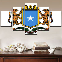 Canvas Wall Art Bedroom Print Poster 5 Piece African Leopard Pictures Somalia Badge Flag Paintings Home Decor Framework