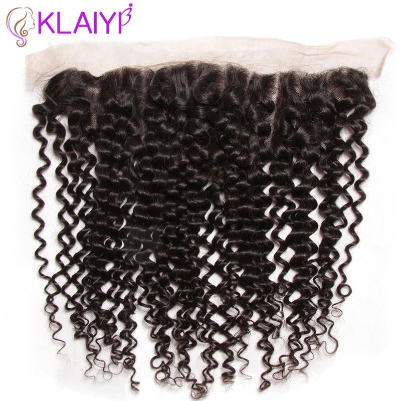 Klaiyi Haar brasilianisches lockiges Haar 13 * 4 Spitze Frontal - Menschenhaar (für Schwarz) - Foto 4