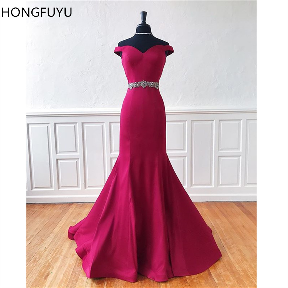 HONGFUYU Off the Shoulder Mermaid Long   Prom     Dresses   Vestidos de Fiesta Evening Gowns Beaded Belt Back Zipper Formal Party   Dress