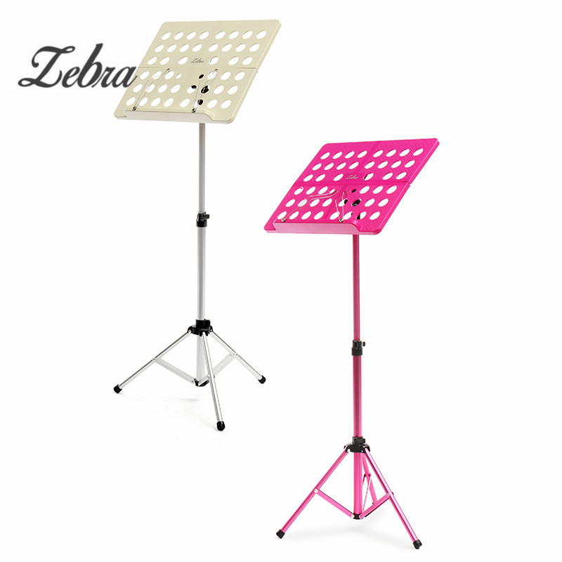 Zebra Portable Sheet Music Stand Folding Musical Desk Holder Adjustable Paper Rack with Carrying Case For Musical Instruments colourful sheet folding music stand metal tripod stand holder with soft case with carrying bag free shipping wholesales