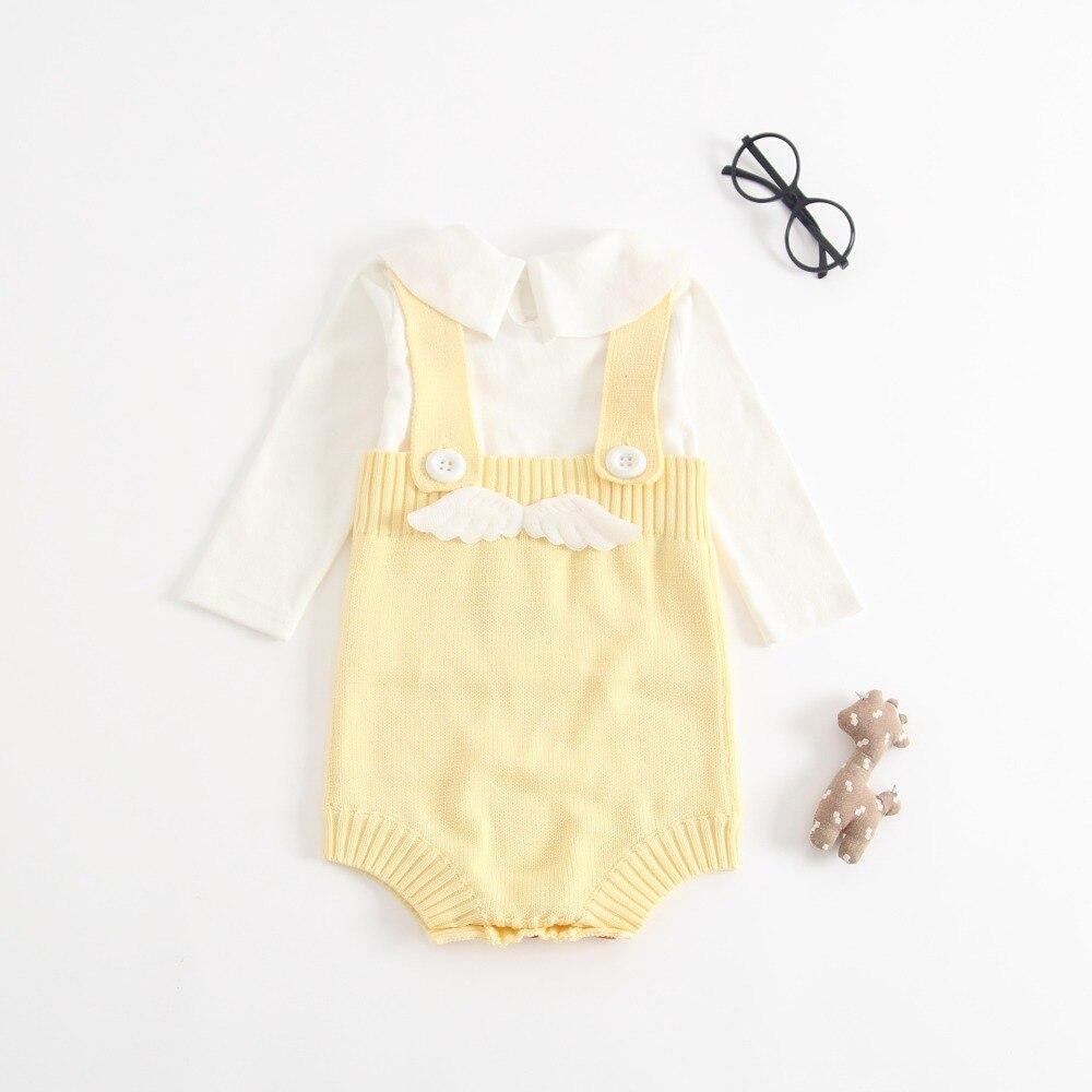 Pasgeboren gebreide babybody met engelenvleugel Ontwerp katoenen - Babykleding - Foto 5