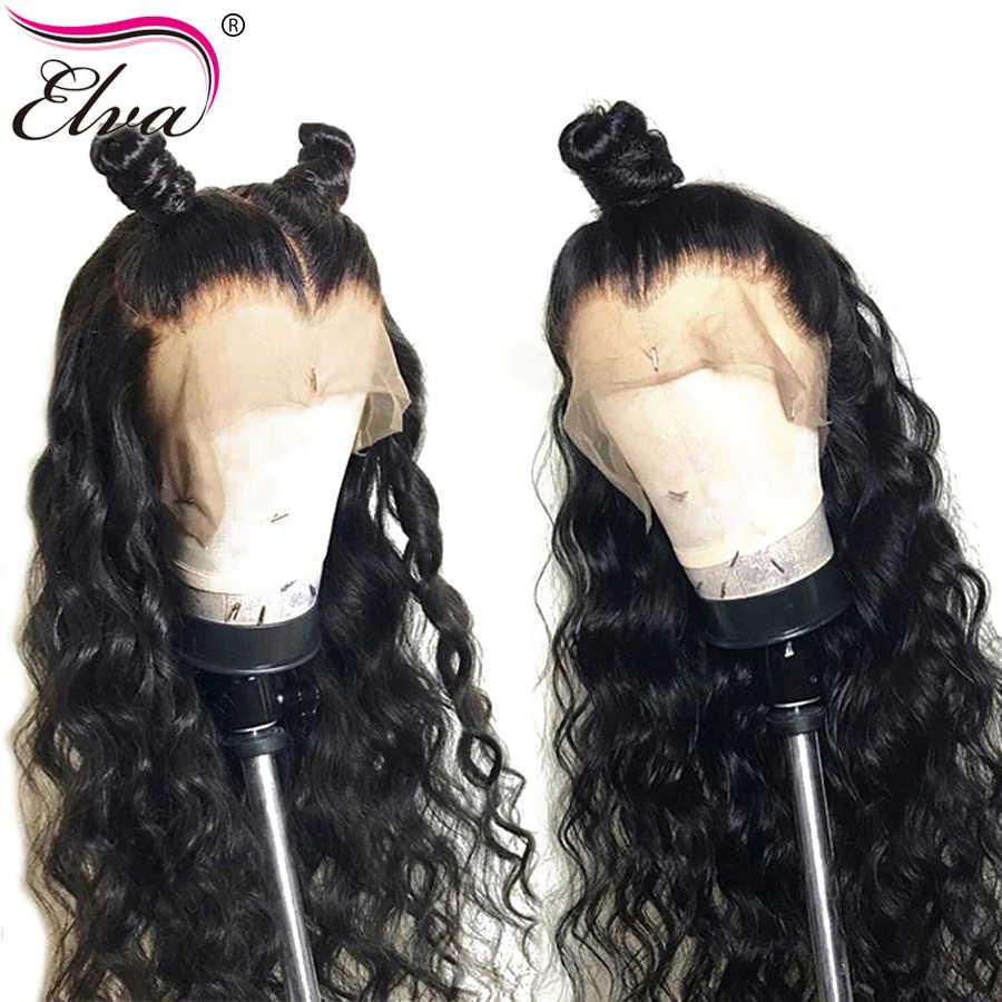 Волосы ELVA 13x6 человеческие волосы на кружеве парики волна воды бразильские волосы remy парики для черных женщин с детскими волосами предварительно сорванные