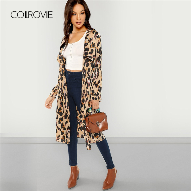 COLROVIE Apricot Shawl Collar Leopard Print Long Trench Coat Office Lady Women Cardigan Outwear Women 2018 Autumn Elegant Coat