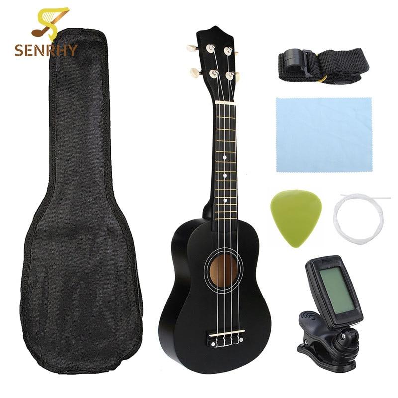 Ukulele Combo 21 Ukulele Soprano negro 4 cuerdas Uke Hawaii Bass instrumento Musical Set Kits + sintonizador + String + correa + bolsa