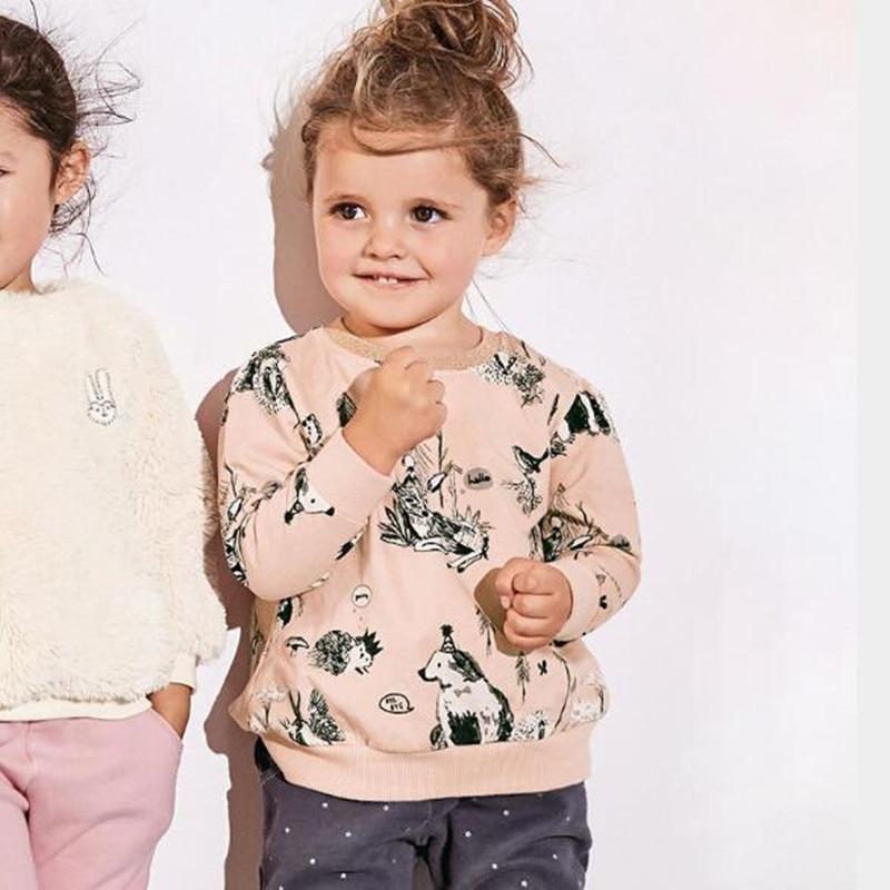 Little maven autumn baby girls brand clothes children Hoodies & Sweatshirts girl cotton Hand-painted animal sweater fleece C0110