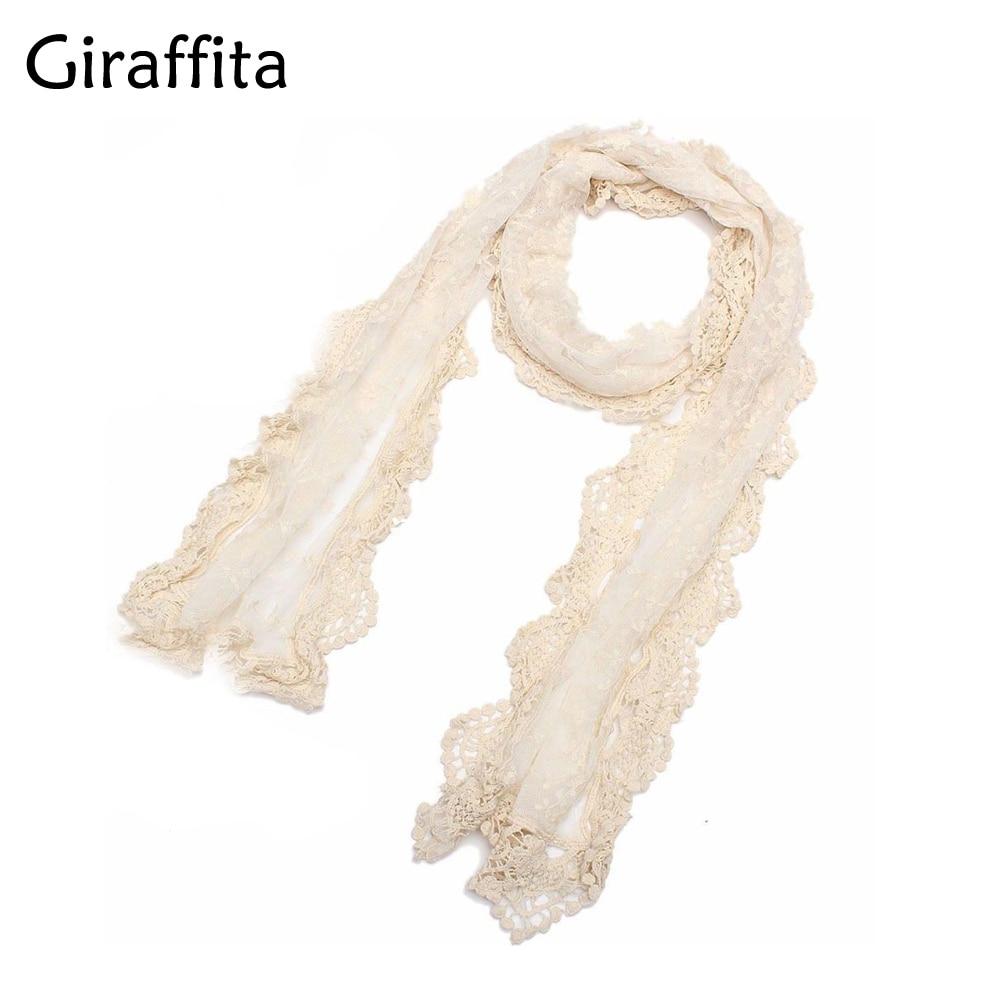 8fca7eaec0cf8 Giraffita Lace Cape Scarf Ultra Long Milk Silk Tassel Cutout Crochet  Cashers Three-dimensional Bohemia Flower White Scarves