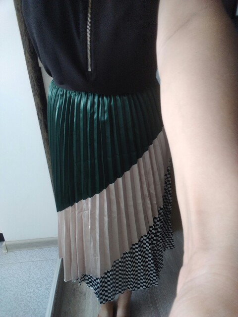 Spring New Coming Europen Color Matching Plaid  Pleated Skirt High Street Style Mid Calf Empire Striped Women Skirts photo review