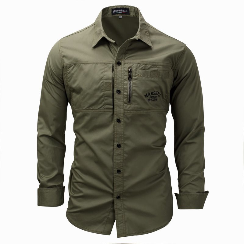 Outdoor Climbing Sport Riding Military Tactical Shirt 3XL Spring Autumn Men's Lapel  Long Sleeve Cotton Breathable Cardigan Tops