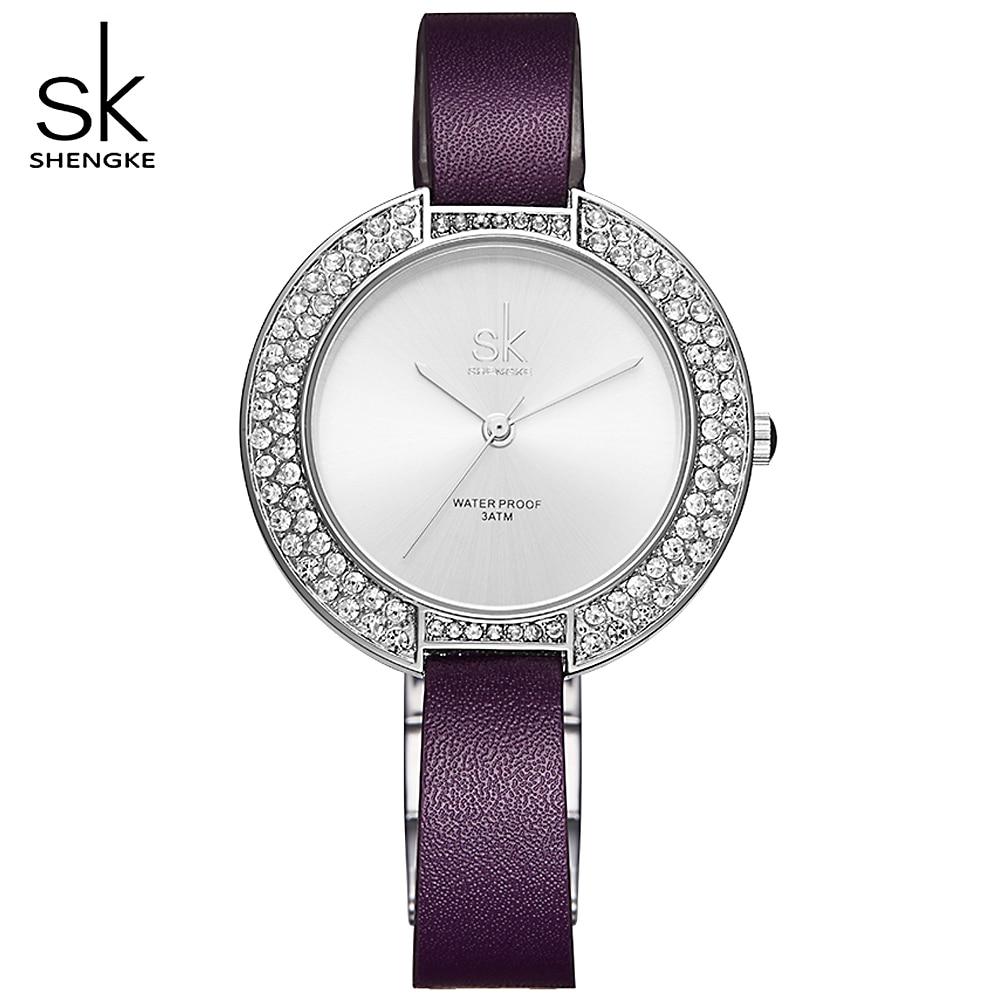 SK Women Watches New and Unique Dial Rhinestone Case Simple Dial Purple Leather Bracelet Female Quartz