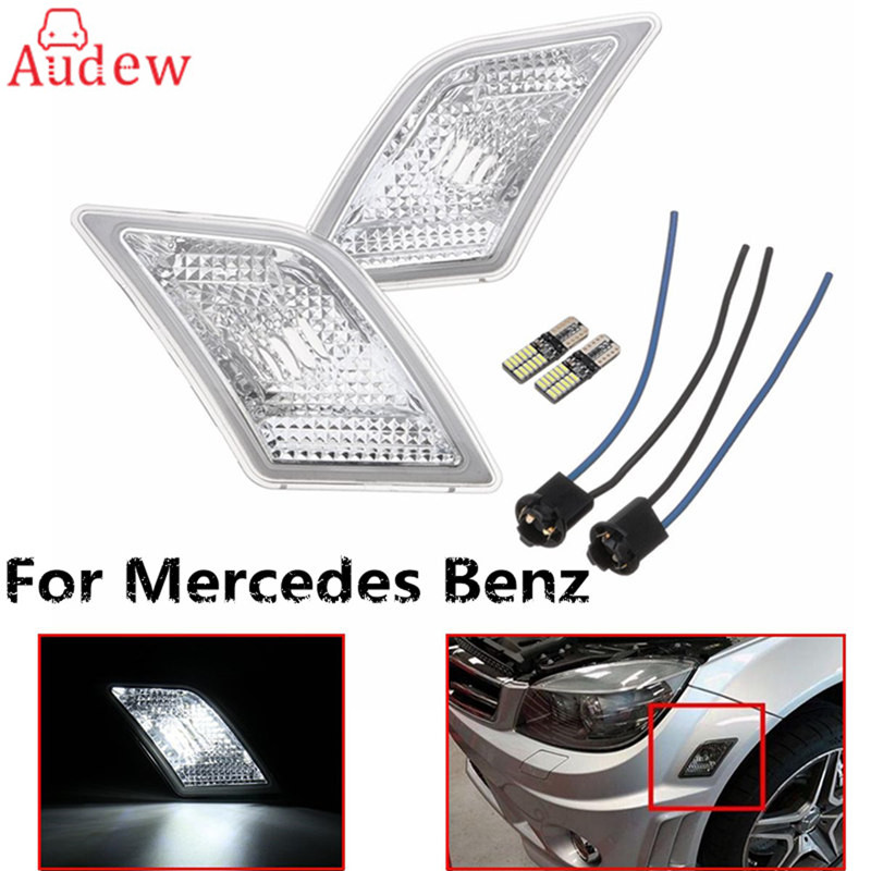 2Pcs Clear Lens LED Side Marker Lights Lamps  Turn Signal Light For 08-11 for Mercedes/Benz W204 C250 C300 C350 door mirror turn signal light for mercedes benz w163 ml270 ml230 ml320 ml400 ml350 ml500 ml430 ml55