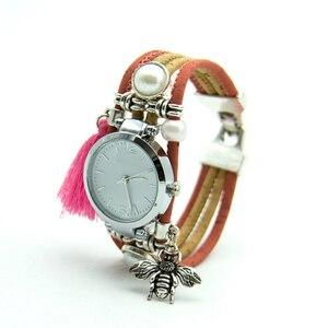 Image 5 - Natural cork handmade Bee watch with pink tassel original from Portugal women cork watch WA 102 B