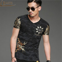 Men T Shirt Summer 3D Printed Gold Foil Luxury Brand Fashion Short Sleeved Tshirt Round Neck