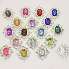 25*30MM Rhinestone Transparent crystal metal Flat back clothing button Wedding tnvitations decoraation 18 color buttons