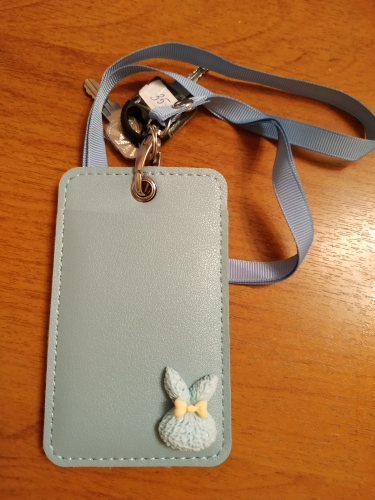 Women Cartoon Candy Leather Card Holder Students Bus Card Case Lanyard Girl Cute Rabbit Door Work Identity Badge 2 Cards Cover photo review