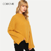 COLROVIE Ginger Textured Knitted Sweater Girls 2018 Winter Sweater Ladies Jumpers Bell Long Sleeve Pullover Women Basic Sweaters