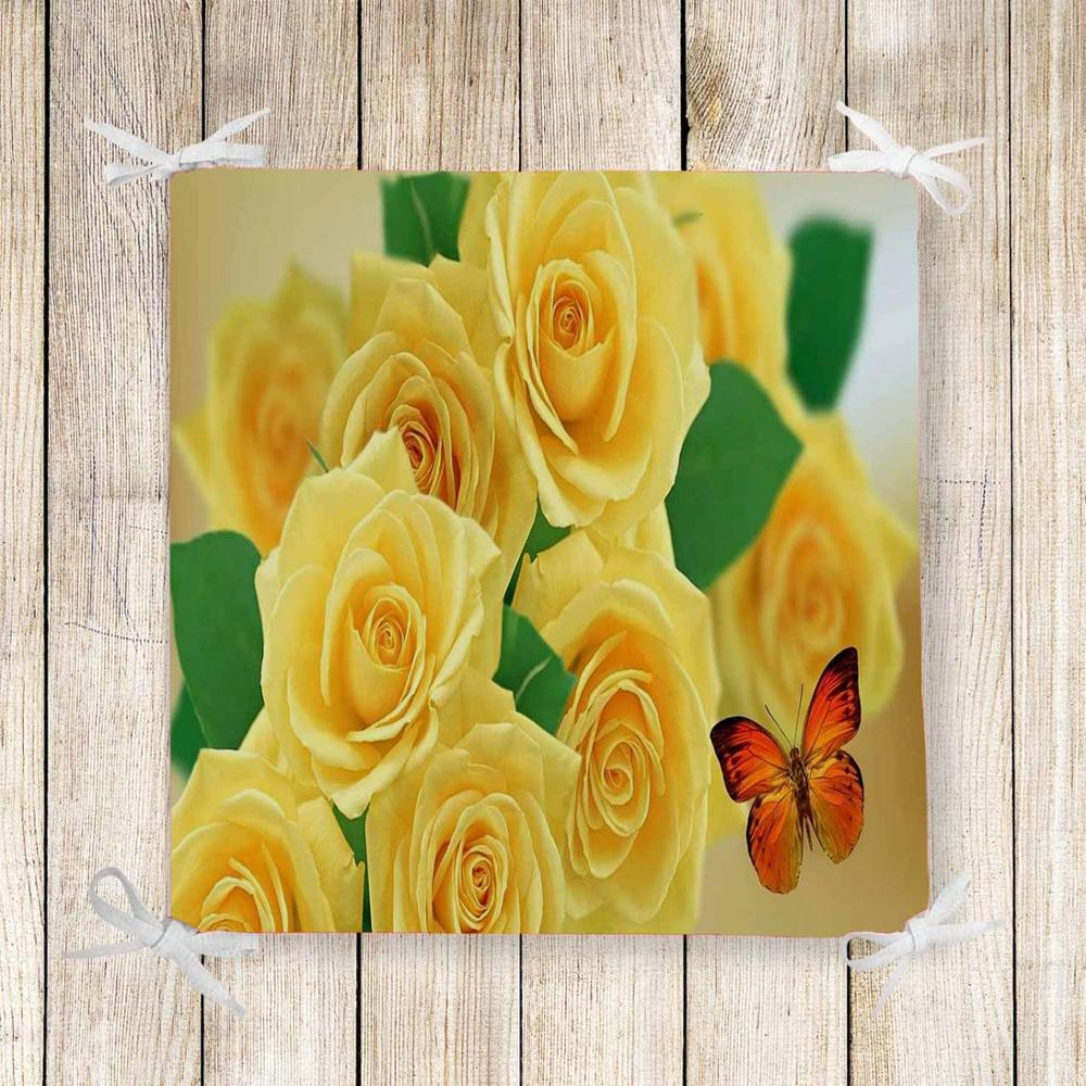 Else Yellow Flowers Roses Butterfly 3d Print Square Chair Pad Seat Cushion Soft Memory Foam Full Lenght Ties Non Slip Washable